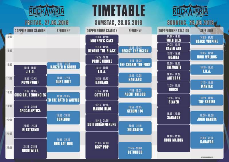 Rockavaria 2016 Timetable