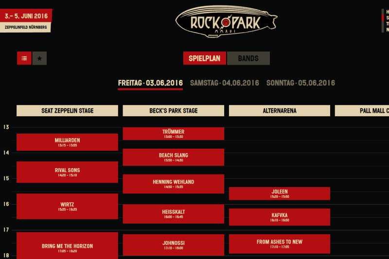 Spielplan Rock am Ring 2016 / Spielplan Rock im Park 2016