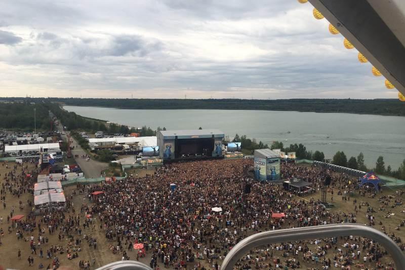 Konzertgelände des Highfield Festival von oben