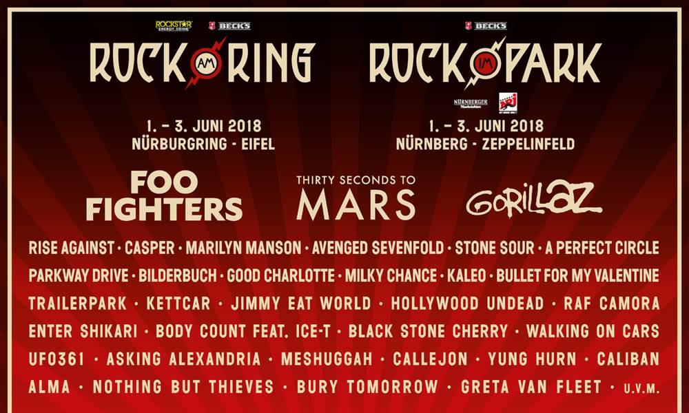 Die ersten Bands für Rock im Park und Rock am Ring 2018