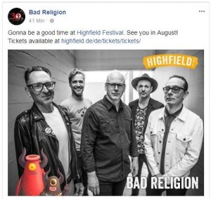 Bad Religion beim Highfield Festival 2018