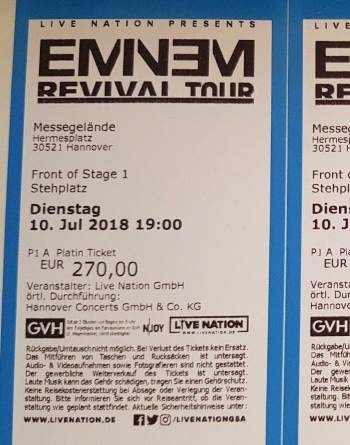 Eminem Platin Ticket