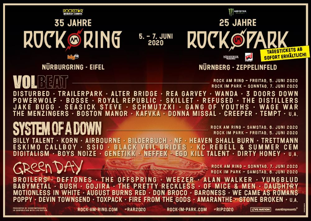 Tagesaufteilung Rock im Park 2020 Rock am Ring Lune-Up